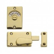 Brassed Toilet Door Lock with Vacant Engaged Indicator