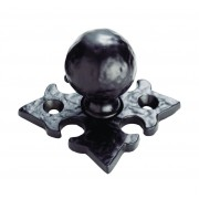 Hammered Pattern Ball Knob on Gothic Cross Backplate