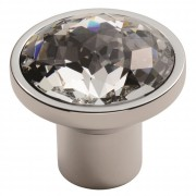 Facetted Round Crystal Cupboard Knob